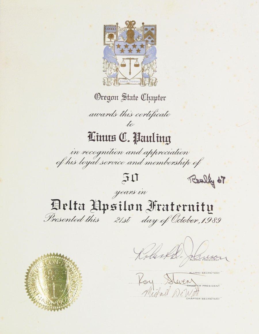 Delta Upsilon Fraternity Oregon State Chapter Certificate Of