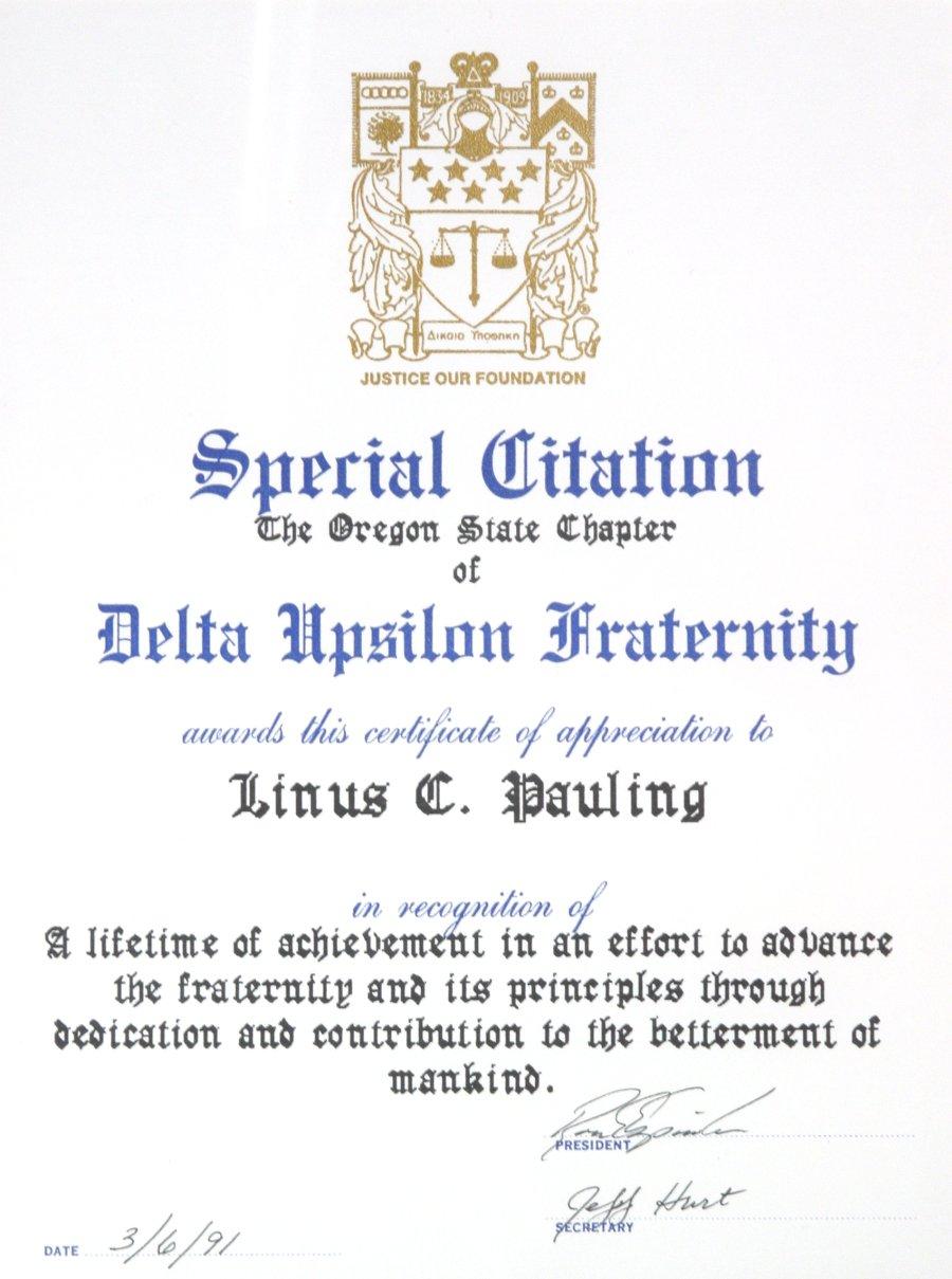 Oregon State Chapter Of Delta Upsilon Fraternity Special Citation
