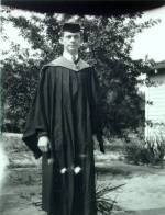 Linus Pauling standing outside after graduation ceremonies, California Institute of Technology.
