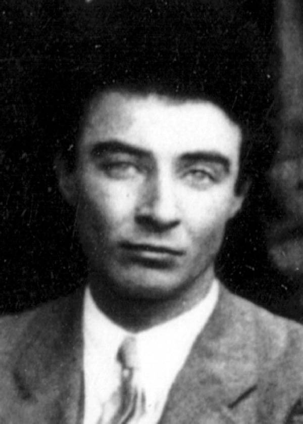 Portrait of J. Robert Oppenheimer.
