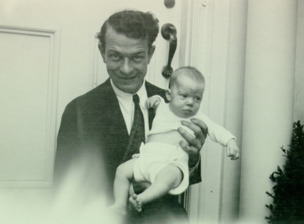 Linus Pauling holding an infant Peter Pauling.Picture. 1931