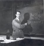 Linus Pauling in lecture.