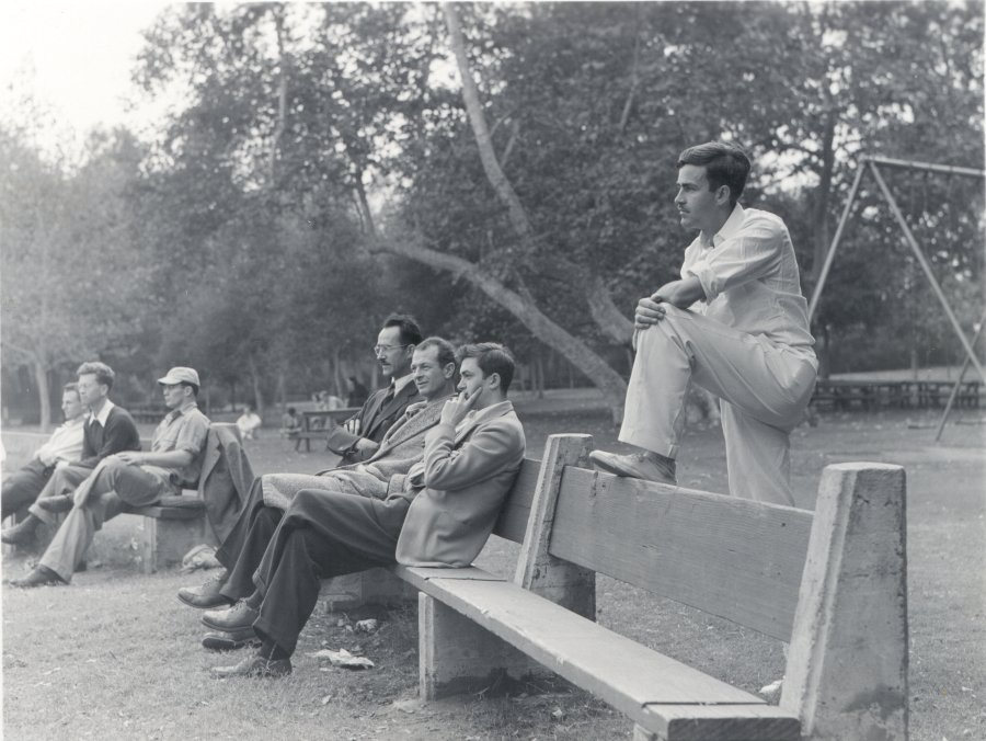 Members of the Caltech Chemistry staff seated at the department picnic.