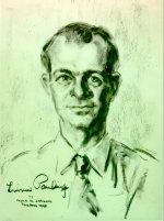 Charcoal portrait of Linus Pauling.
