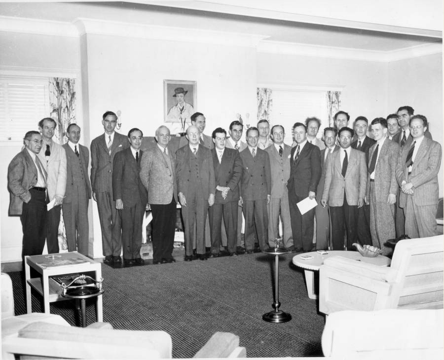 Linus Pauling (second from the left) at the Conference on the Foundations of Quantum Mechanics. (The First Shelter Island Conference) Long Island, New York.