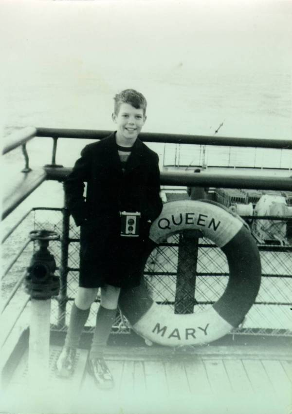 Crellin Pauling standing on the deck of the Queen Mary. Picture. 1948