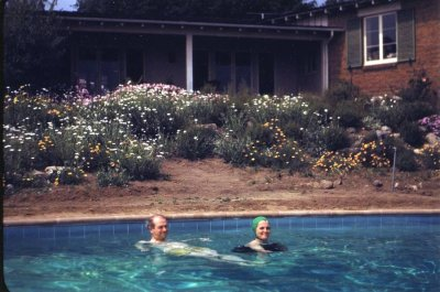 Ava Helen and Linus Pauling swimming in their private pool. Pasadena, California. Picture. 1948