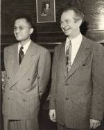 Choh Hao Li and Linus Pauling at the Gilbert Newton Lewis Medal ceremony. University of California, Berkeley.