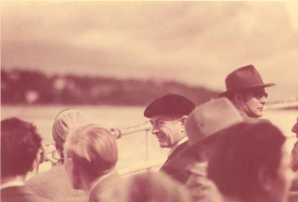 Linus Pauling on a crowded boat off the coast of Sweden.