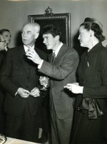Birger Ekeberg, Peter Pauling, and an unidentified woman at the 1954 Nobel Prize gathering. Stockholm, Sweden.