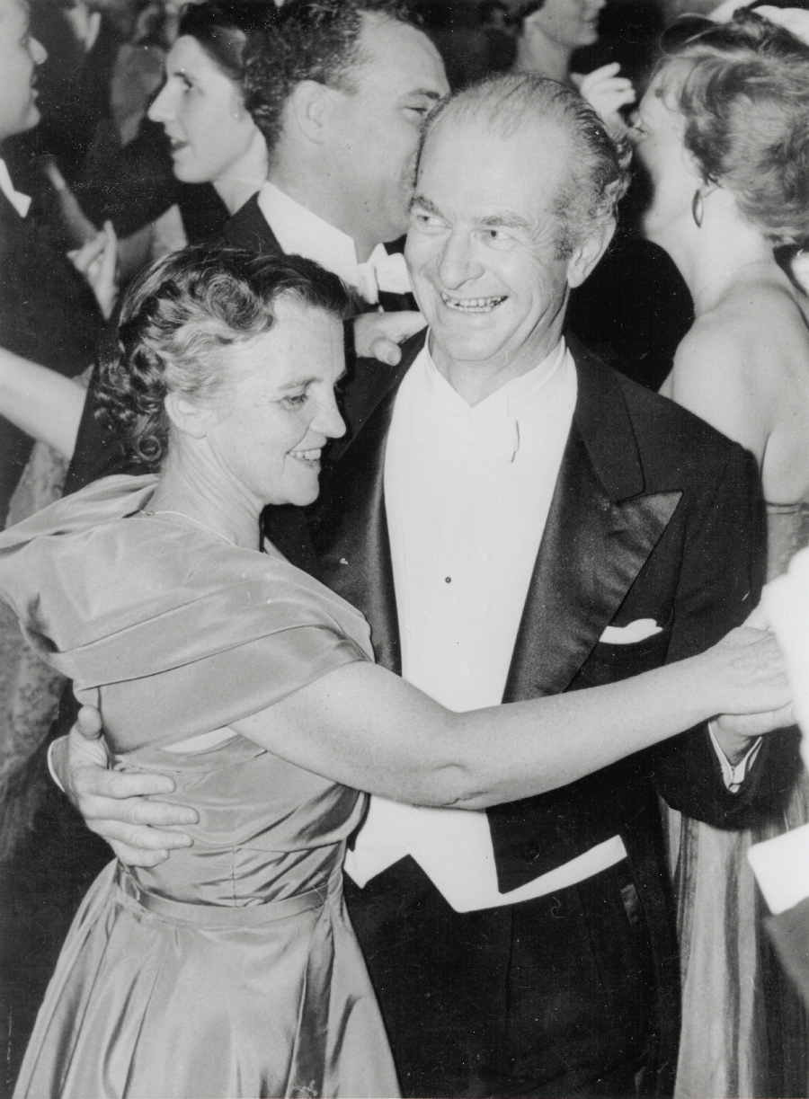 Ava Helen and Linus Pauling dancing at the 1954 Nobel Ball. Stockholm, Sweden.