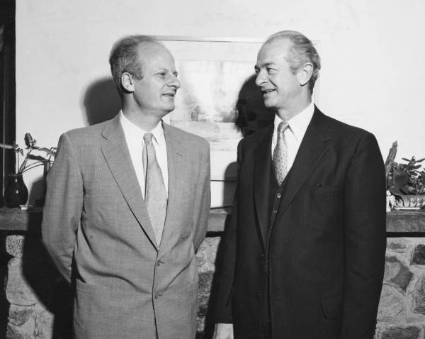 Hans Bethe and Linus Pauling at the home of Cornell University professor Frank Long.  Ithaca, New York.