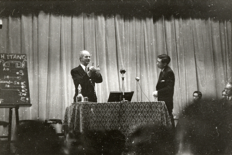 Linus Pauling lecturing on sickle cell anemia, Kyoto, Japan.