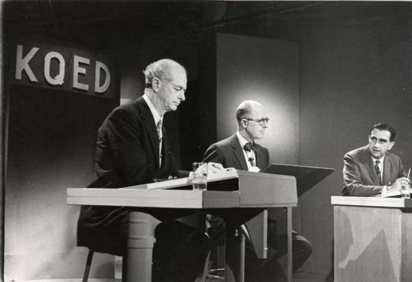 "Linus Pauling debating Edward Teller on the topic of nuclear fallout: ""The Nuclear Bomb Tests...Is Fallout Overrated?"" KQED-TV, San Francisco."