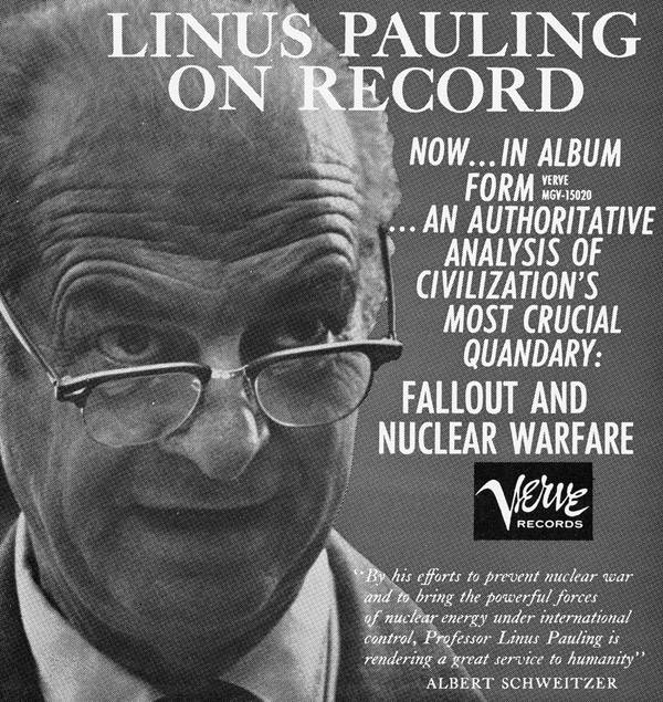 Promotional flyer for Linus Pauling's Verve recording on fallout and nuclear warfare.