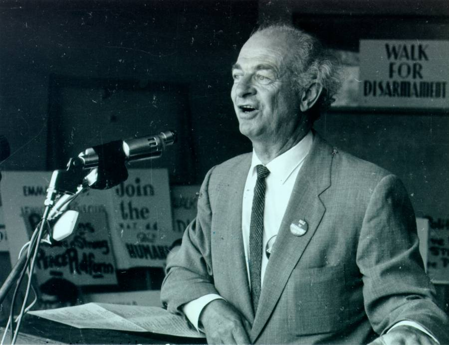 Linus Pauling speaking at a rally for disarmament, Exposition Park, Los Angeles, California.