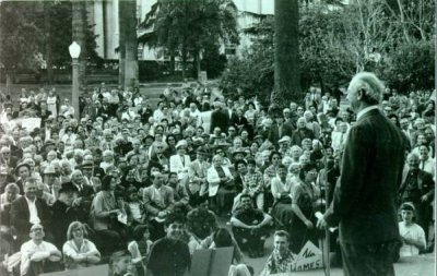 Linus Pauling speaking at a peace march in Westlake Park. Beverly Hills, California. Picture. 1960