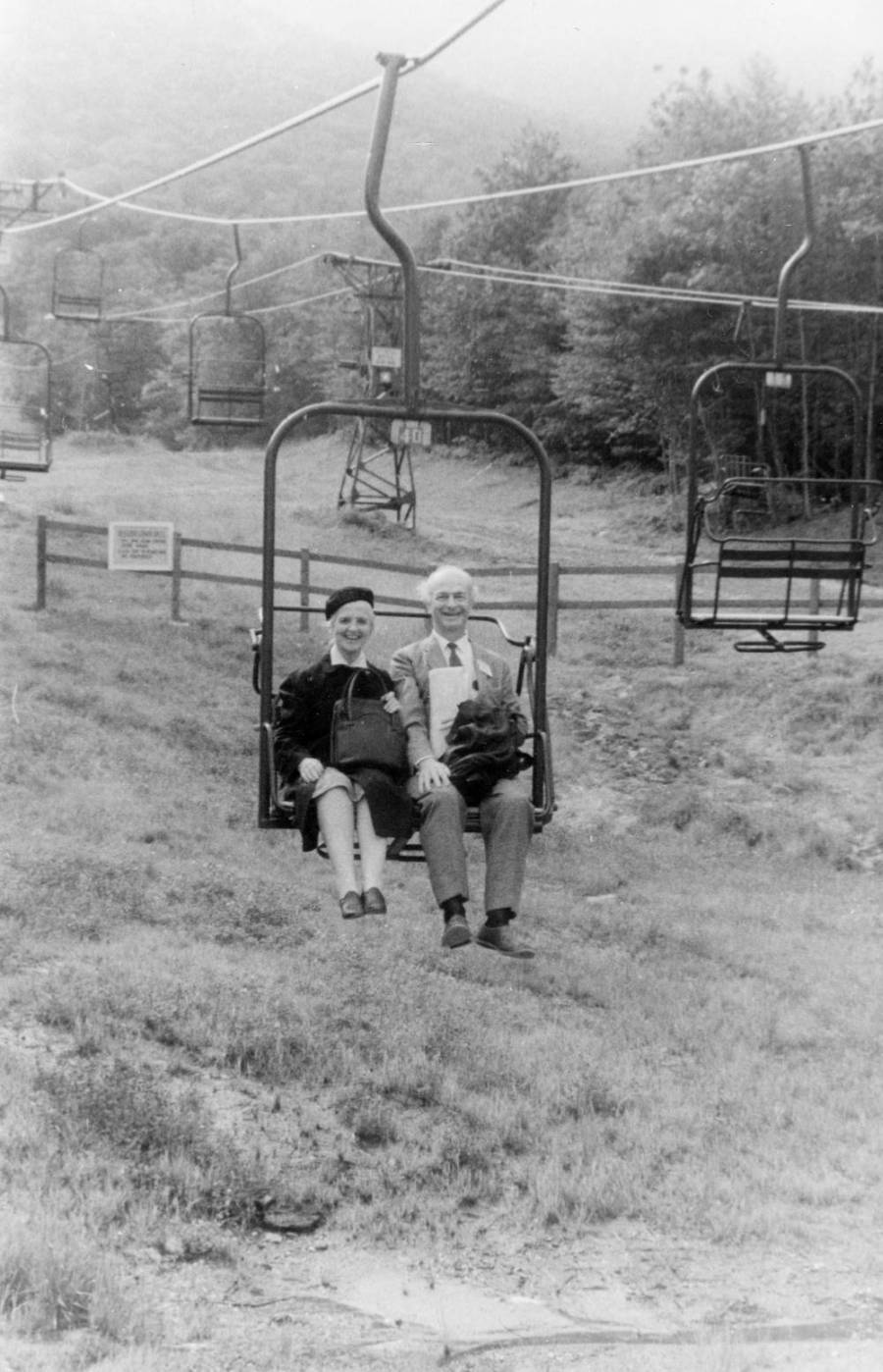 Ava Helen and Linus Pauling riding a ski lift at the seventh annual Pugwash Conference. Stowe, Vermont.