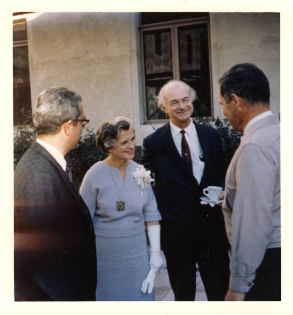 Linus and Ava Helen Pauling at a Nobel Peace Prize celebration held for them by the Caltech Biology Department