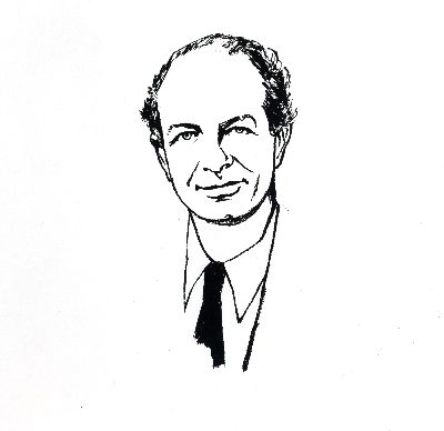 Line drawing of Linus Pauling. Picture. 1963