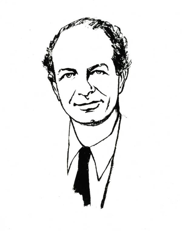 Line drawing of Linus Pauling.