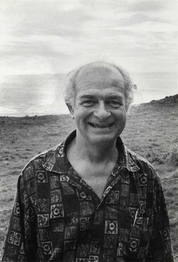 Linus Pauling on the beach at Big Sur, California.