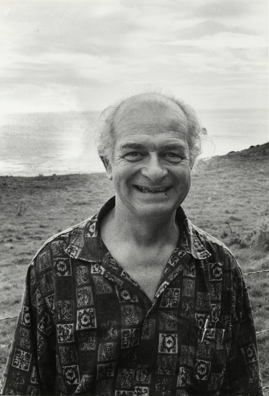 Linus Pauling on the beach at Big Sur, California.