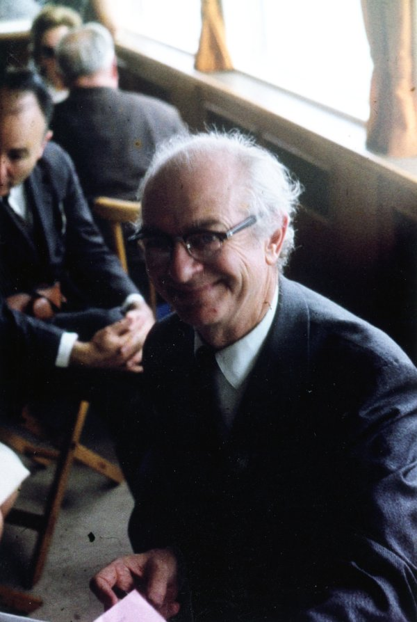 Linus Pauling sitting in the lounge of a large boat.Picture. 1964