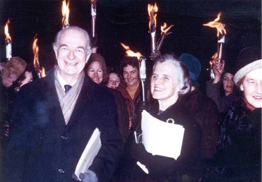Linus and Ava Helen Pauling at a torchlight procession, Oslo, Norway.