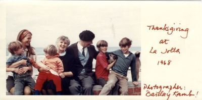 "Linda Pauling Kamb, Ava Helen Pauling and Linus Pauling with Linda's four boys: Anthony, Linus Peter (""Gubbie""), Carl Alexander (""Sasha"") and Barclay James (""Barkie""). La Jolla, California. Picture. November 28, 1968"