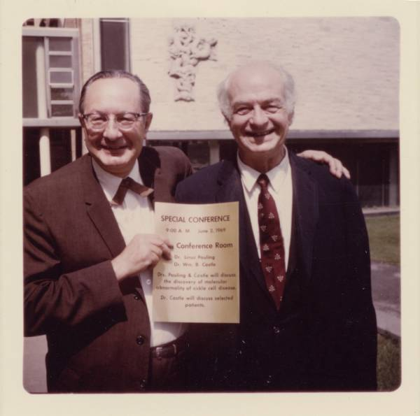Sam Morall and Linus Pauling, prior to a joint presentation made by Pauling and William B. Castle, Milwaukee, Wisconsin.