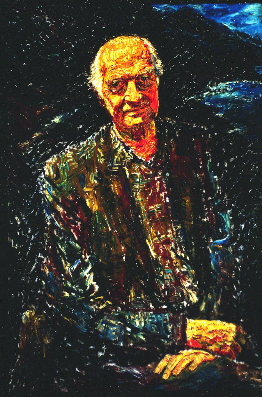 Oil painting of Linus Pauling.
