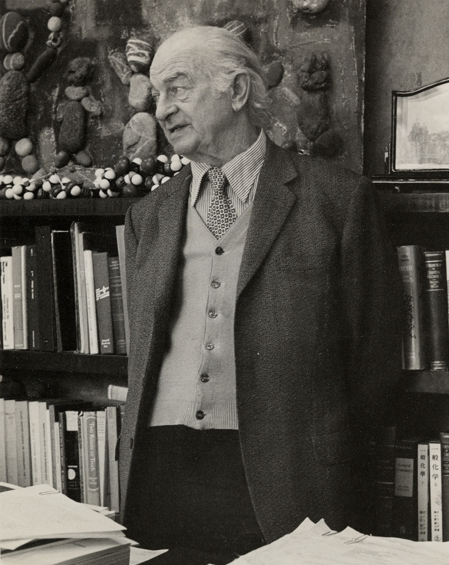 Linus Pauling in his office at the Linus Pauling Institute of Science and Medicine.