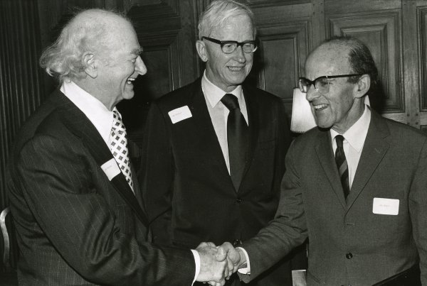 Linus Pauling, Max Delbrück and Max Perutz at the American Chemical Society centennial meeting, New York.