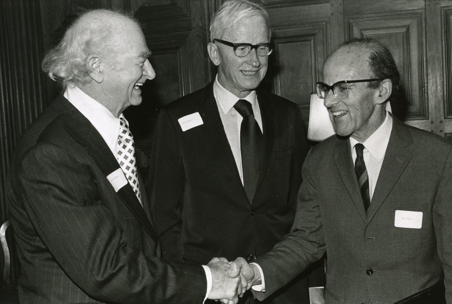 Linus Pauling, Max Delbrück and Max Perutz at the American Chemical Society centennial meeting, New York.