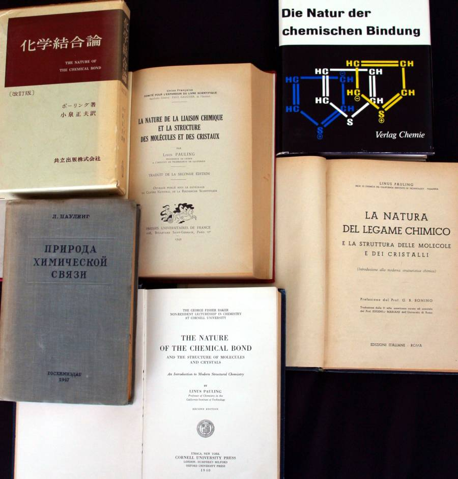 Covers of several different editions of The Nature of the Chemical Bond.