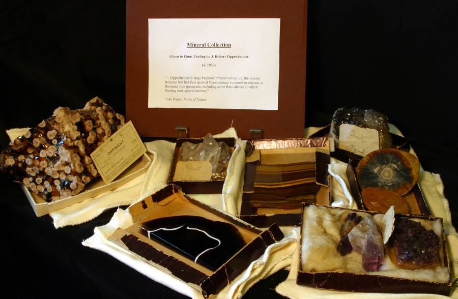 Parts of Robert Oppenheimer's mineral collection, given to Linus Pauling.