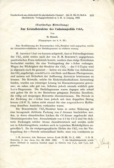 """Notes re: """"The Crystal Structure of Cadmium Iodide""""Page 333. June 8, 1933"""