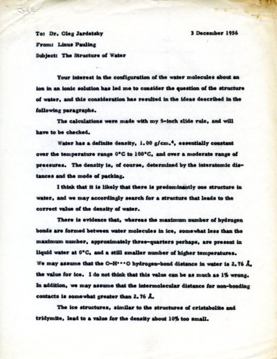 Letter from Linus Pauling to Oleg Jardetzky. Page 1. December 3, 1956