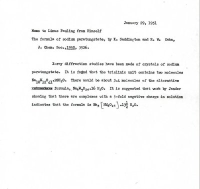 Linus Pauling note to self concerning research on the formula for sodium paratungstate.Page 1. January 29, 1951