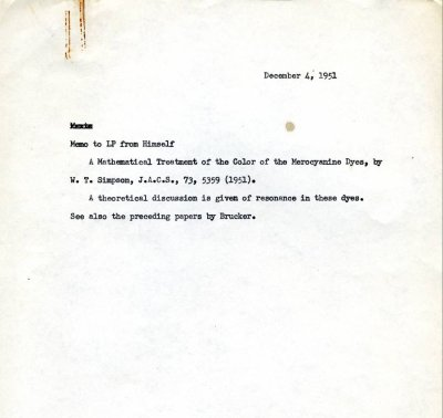 Linus Pauling note to self concerning research on the color of the merocyanine dyes.Page 1. December 4, 1951