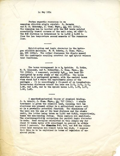 Linus Pauling note to self summarizing research publications on the structures of ammonium chloride, hydrogen chloride and a B6 hydride, as well as a smoothed-potential theory of chemical binding.Page 1. May 14, 1954