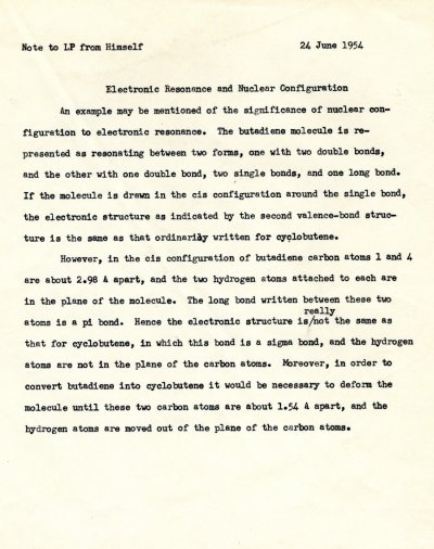 Linus Pauling note to self concerning electronic resonance and nuclear configuration.Page 1. June 24, 1954