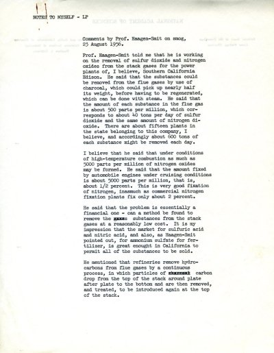 """Comments by Prof. Haagen-Smit on smog."" Page 1. August 23, 1956"