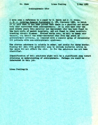 Memorandum from Linus Pauling to Kenneth Shaw. Page 1. May 3, 1960