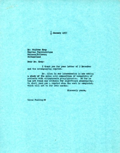 Letter from Linus Pauling to Wolfram Keup. Page 1. January 3, 1957