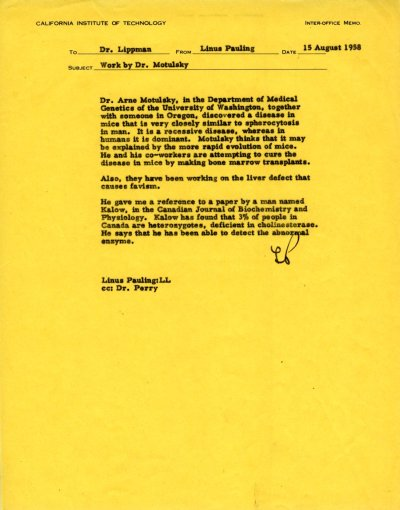 Letter from Linus Pauling to Richard W. Lippman.Page 1. August 15, 1958
