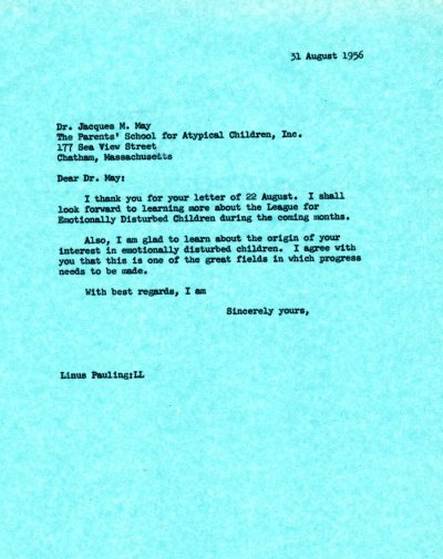 Letter from Linus Pauling to Jacques M. May. Page 1. August 31, 1956