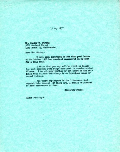 Letter from Linus Pauling to Walter W. Strong. Page 1. May 15, 1957