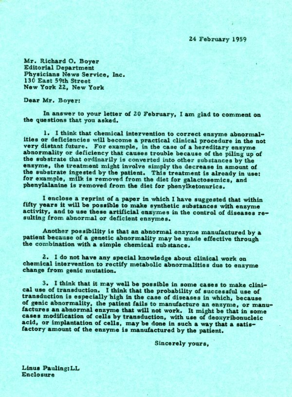 Letter from Linus Pauling to Richard O. Boyer. Page 1. February 24, 1959